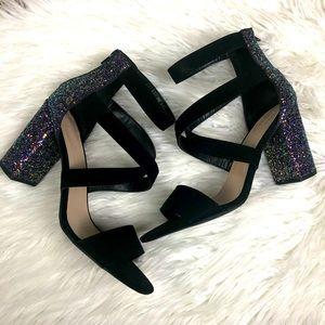 Glitter Block Heel Open Toe Size 10